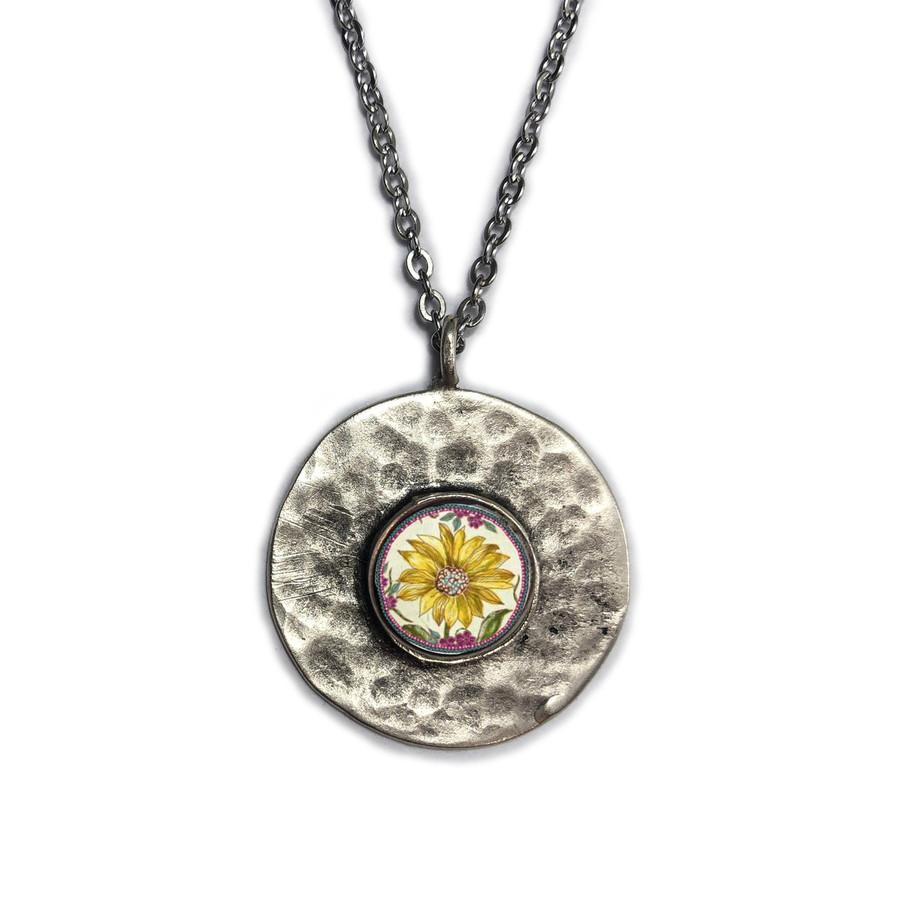 Sunflower Brushed Circle Medium Organic Pendant