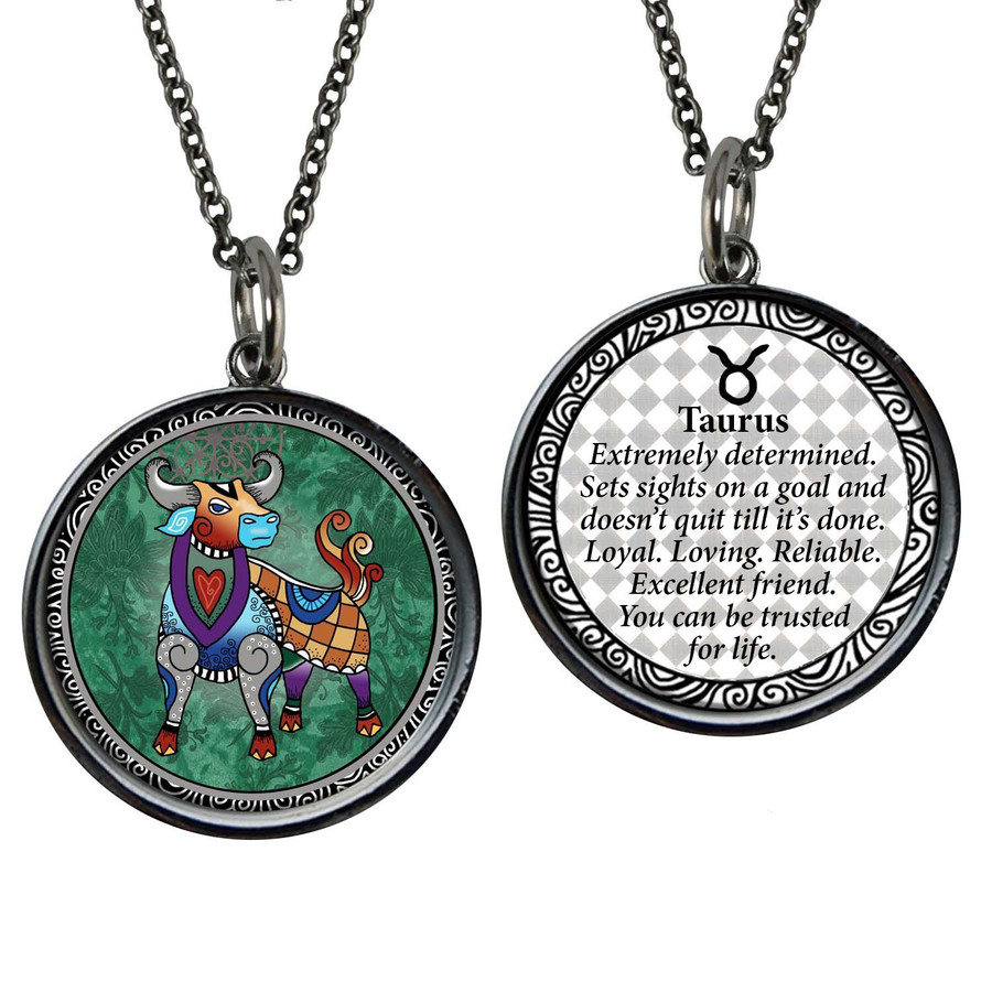 Zodiac Taurus Reversible Circular Pendant