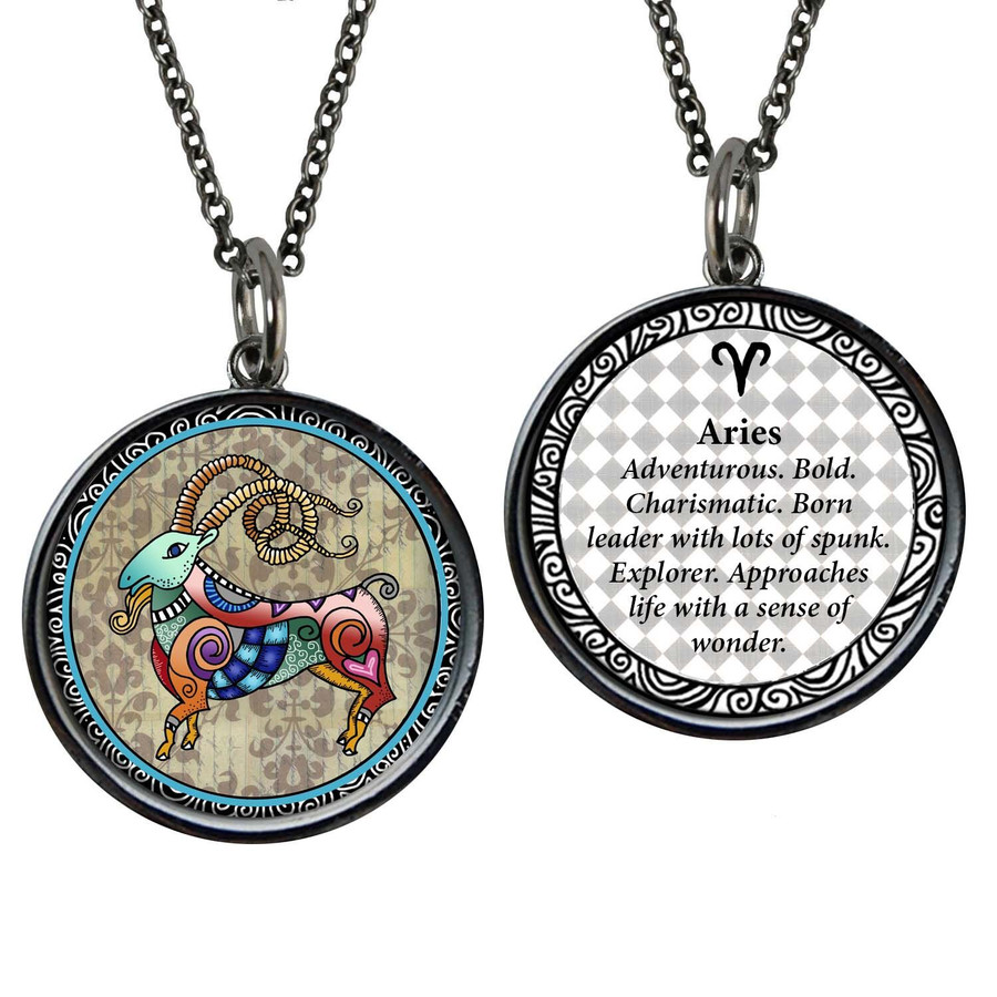 Zodiac Aries Reversible Circular Pendant
