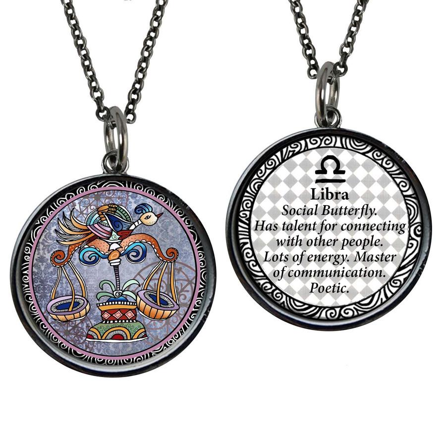 Zodiac Libra Reversible Circular Pendant