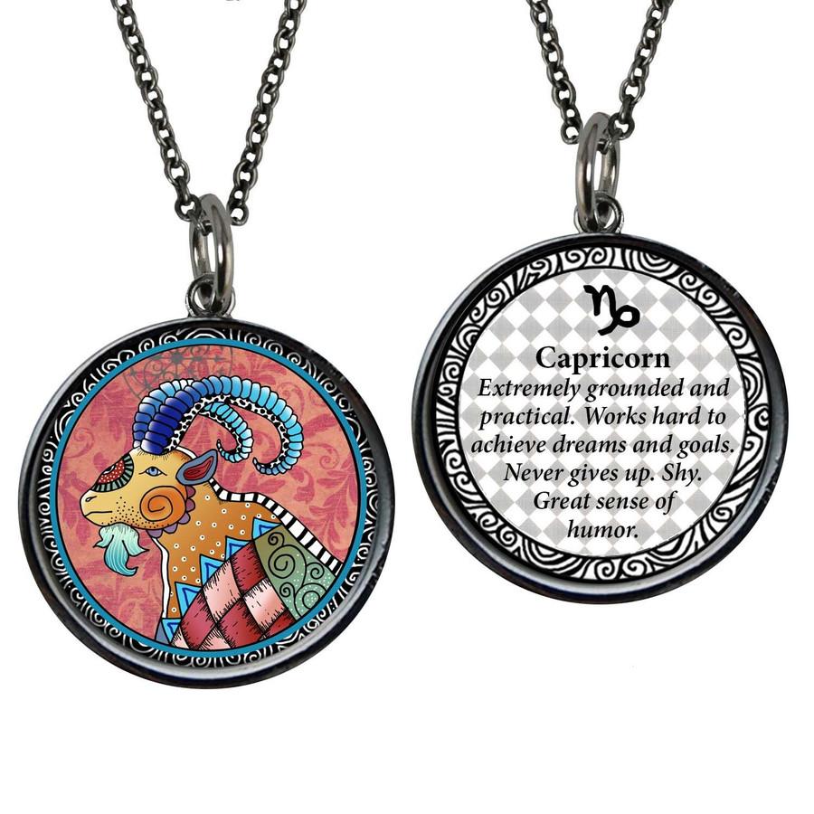 Zodiac Capricorn Reversible Circular Pendant