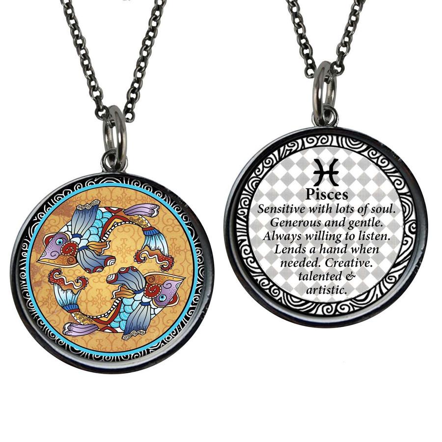 Zodiac Pisces Reversible Circular Pendant