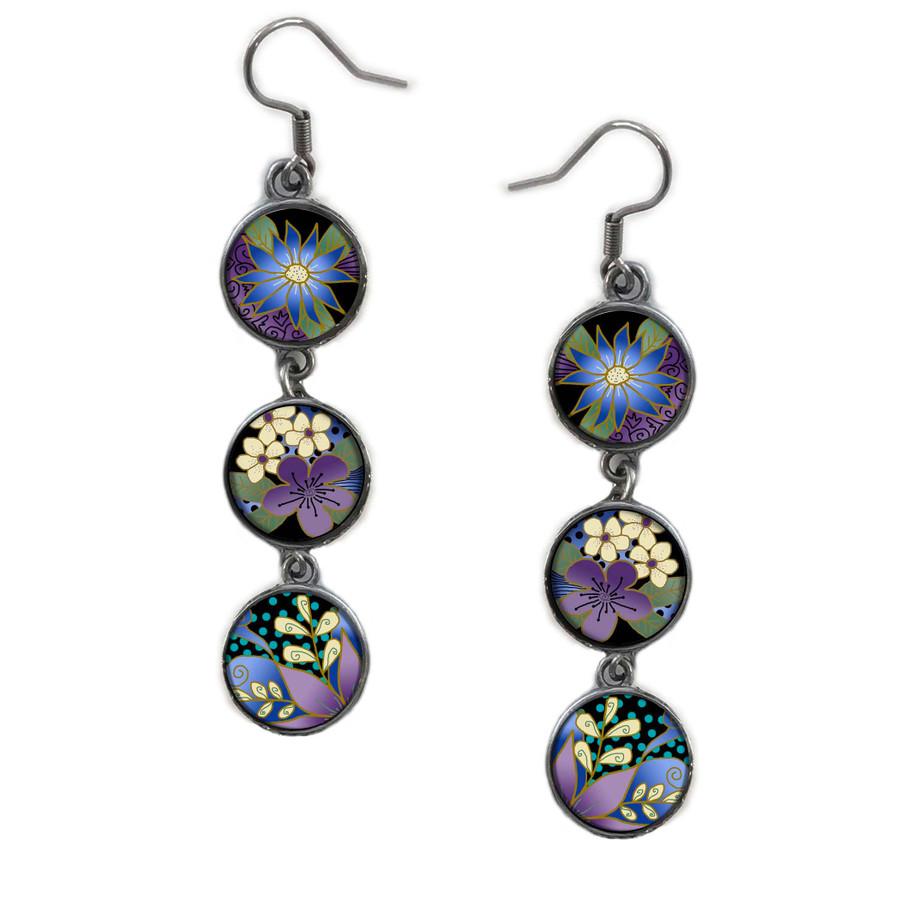 Triple Circle Drop Abstract Purple Flower Art Earring