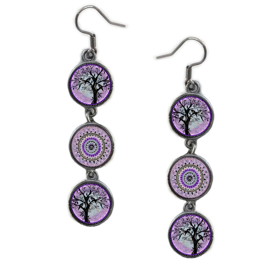 Triple Circle Drop Abstract Tree of Life Purple Flower Art Earring