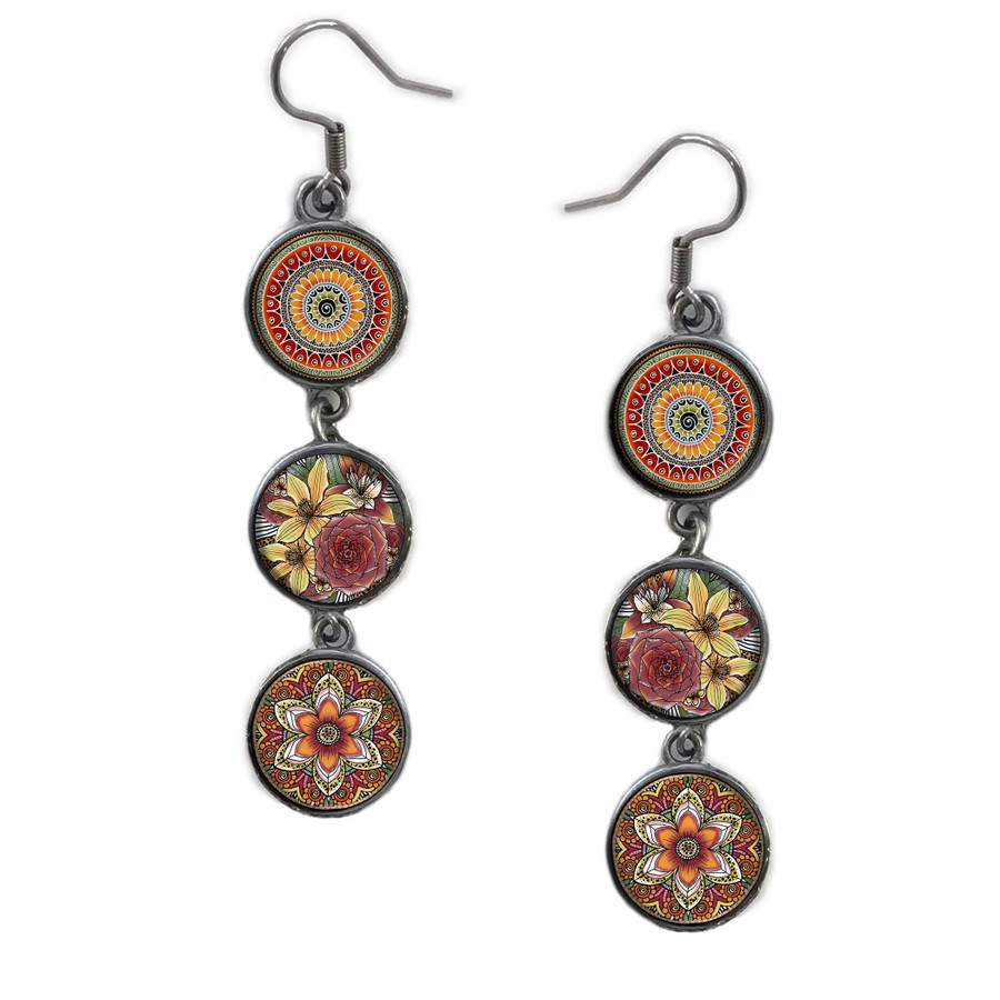 Triple Circle Drop Abstract Mixed Flower Art Earring