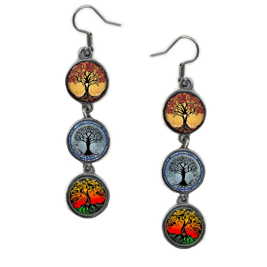 Triple Circle Drop Abstract 3 Tree Of Life Art Earring