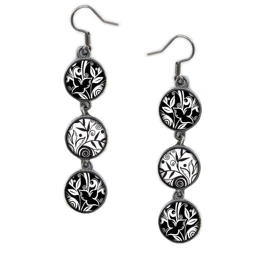 Triple Circle Drop Abstract Black & White Leaf FLower Art Earring