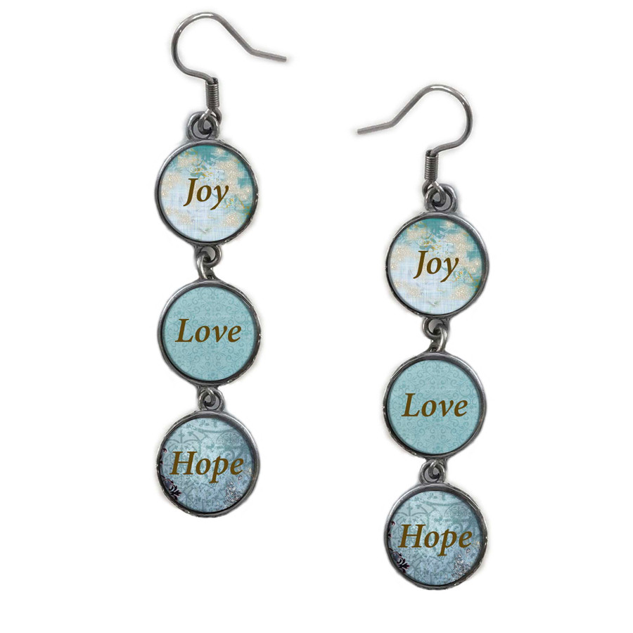 Triple Circle Drop Abstract Joy Quote Art Earring
