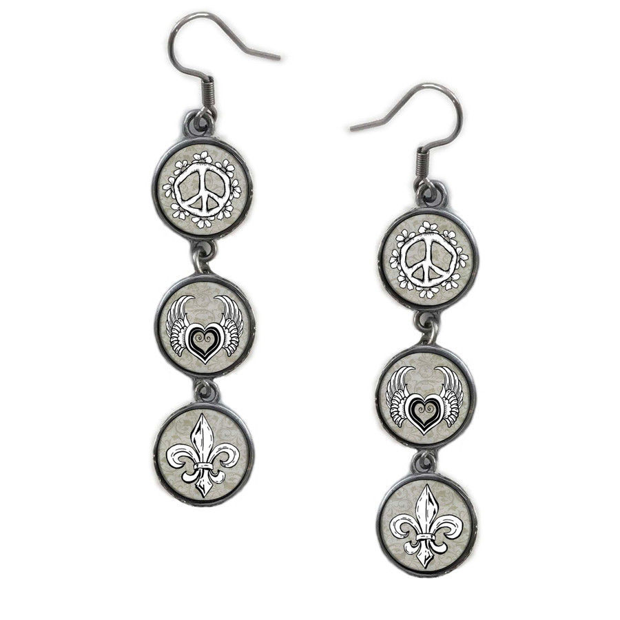 Triple Circle Drop Abstract Peace Combo Art Earring