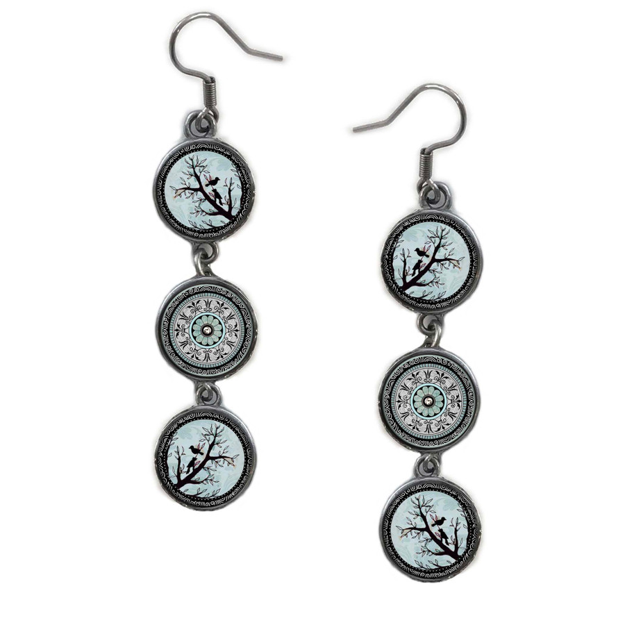 Triple Circle Drop Abstract Tree of Life Art Earring