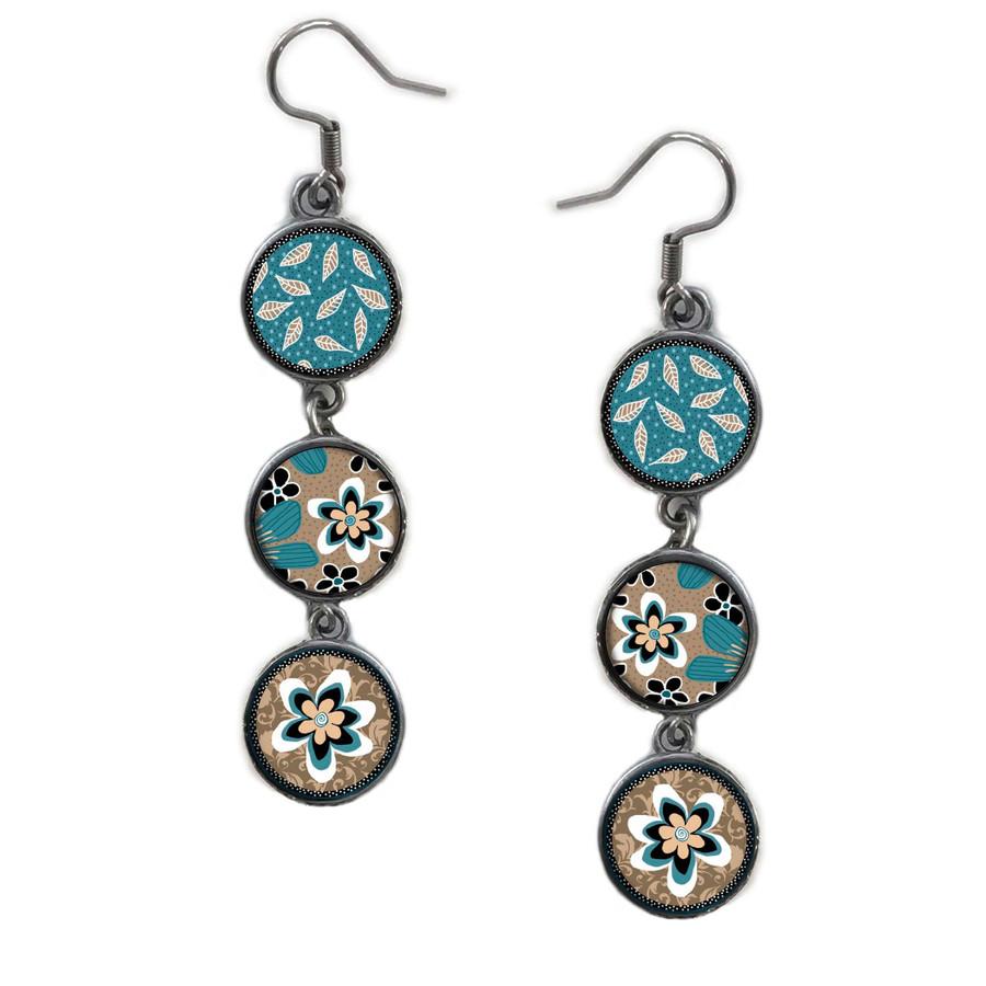 Triple Circle Drop Abstract Teal Flower Art Earring