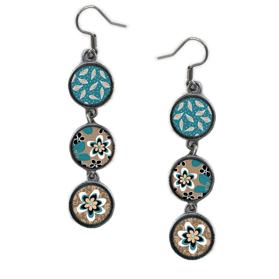 Triple Circle Drop Abstract Teal Flower Art Earring