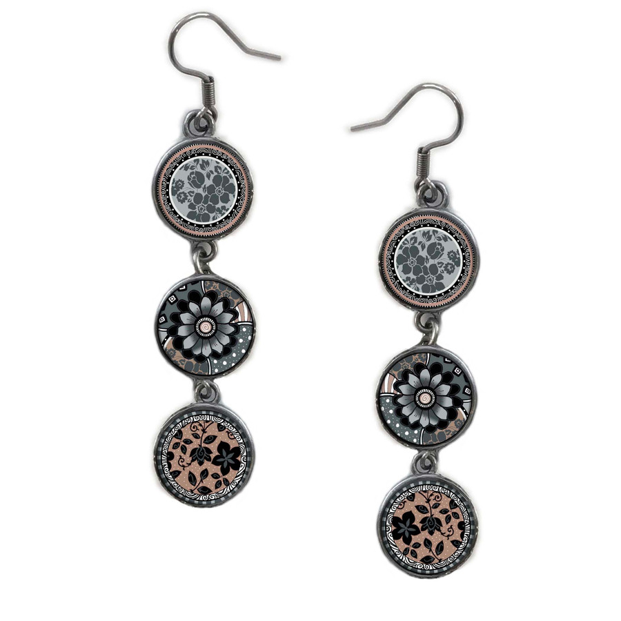 Triple Circle Drop Abstract Grey Black Flower Art Earring