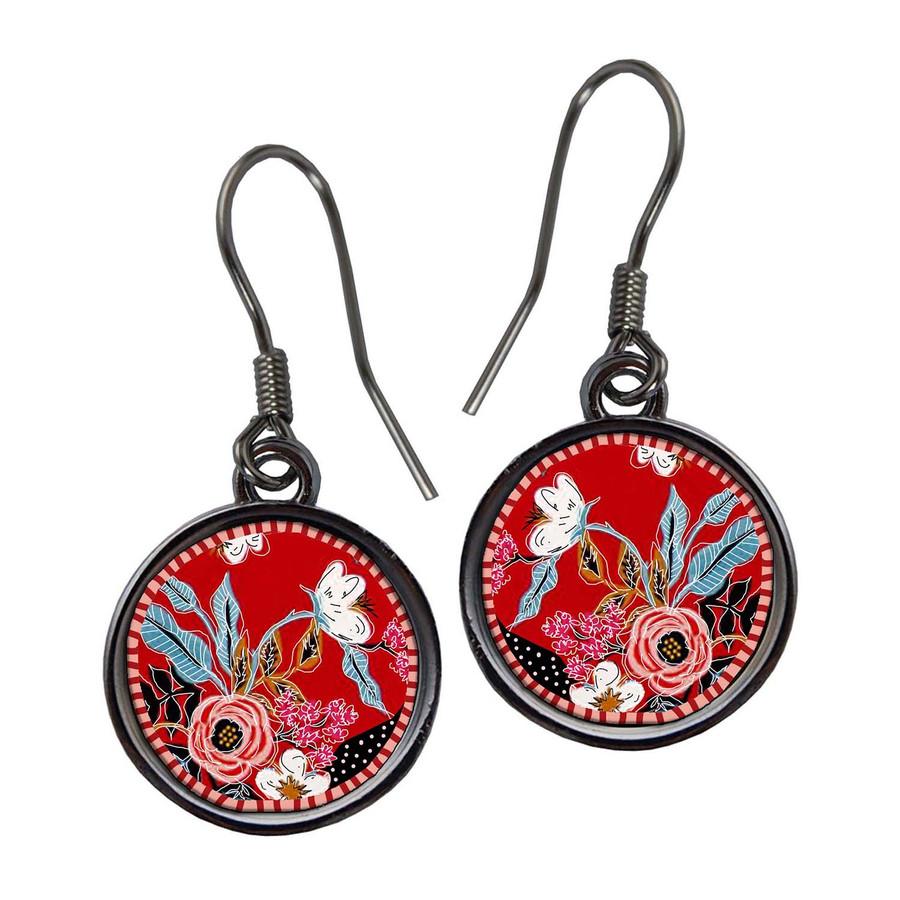 Organic Red Flower Earrings