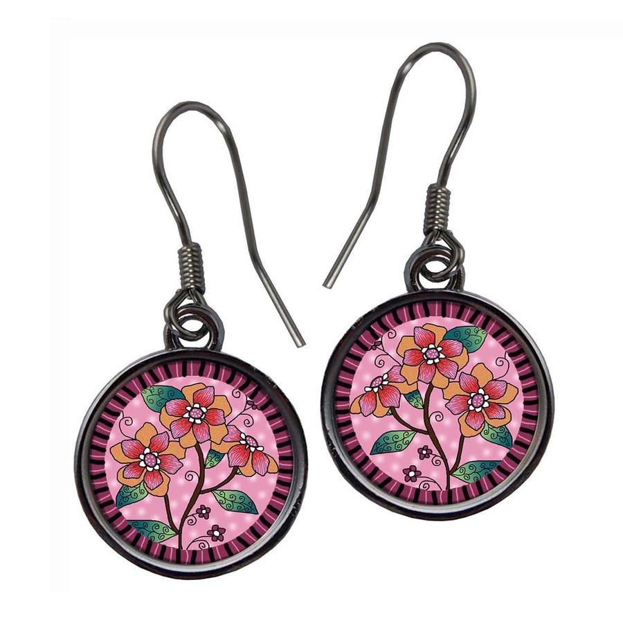 Scroll Flower Pink Daisy Earrings
