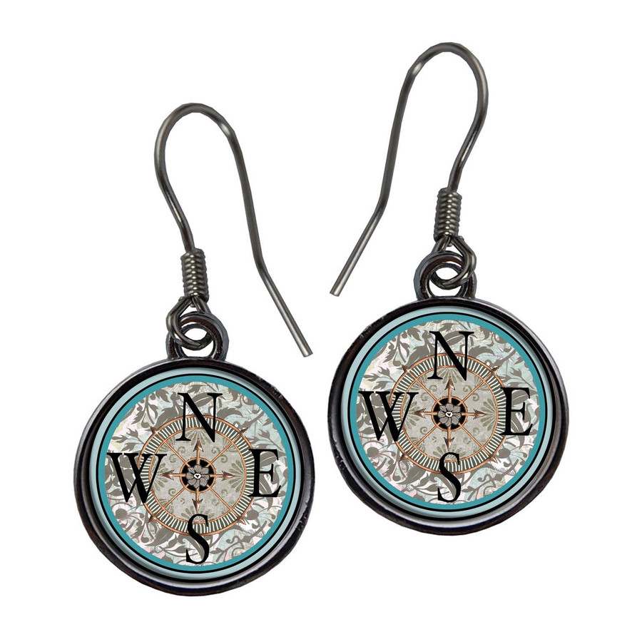 Compass Teal Earrings