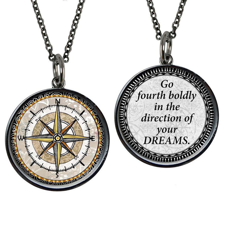 Compass Brown Reversible Circular Pendant