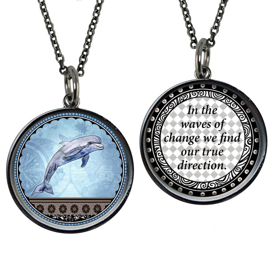 Blue Dolphin Reversible Circular Pendant