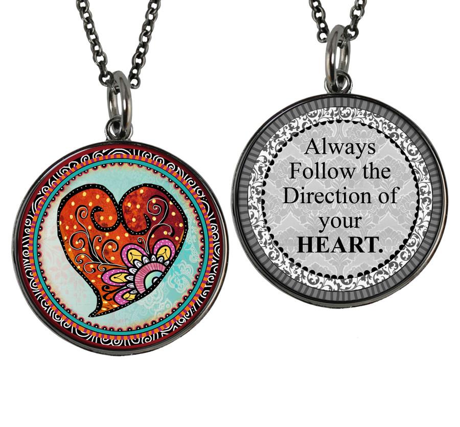 Heart Flower Reversible Circular Pendant