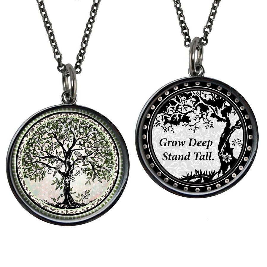 Tree of Life Grow Music Reversible Circular Pendant