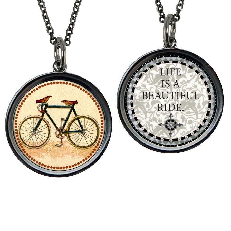 Vintage Bike Reversible Circular Pendant