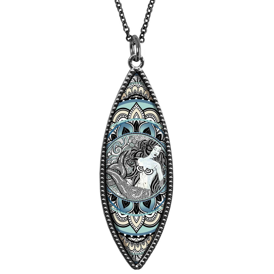 Mermaid Black Marquise Reversible Pendant