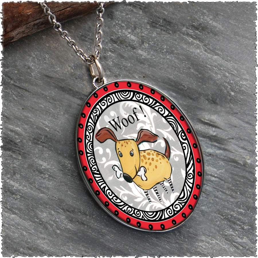 Dog Reversible Silver Oval Pendant