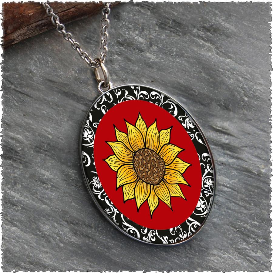 Sunflower Reversible Silver Oval Pendant
