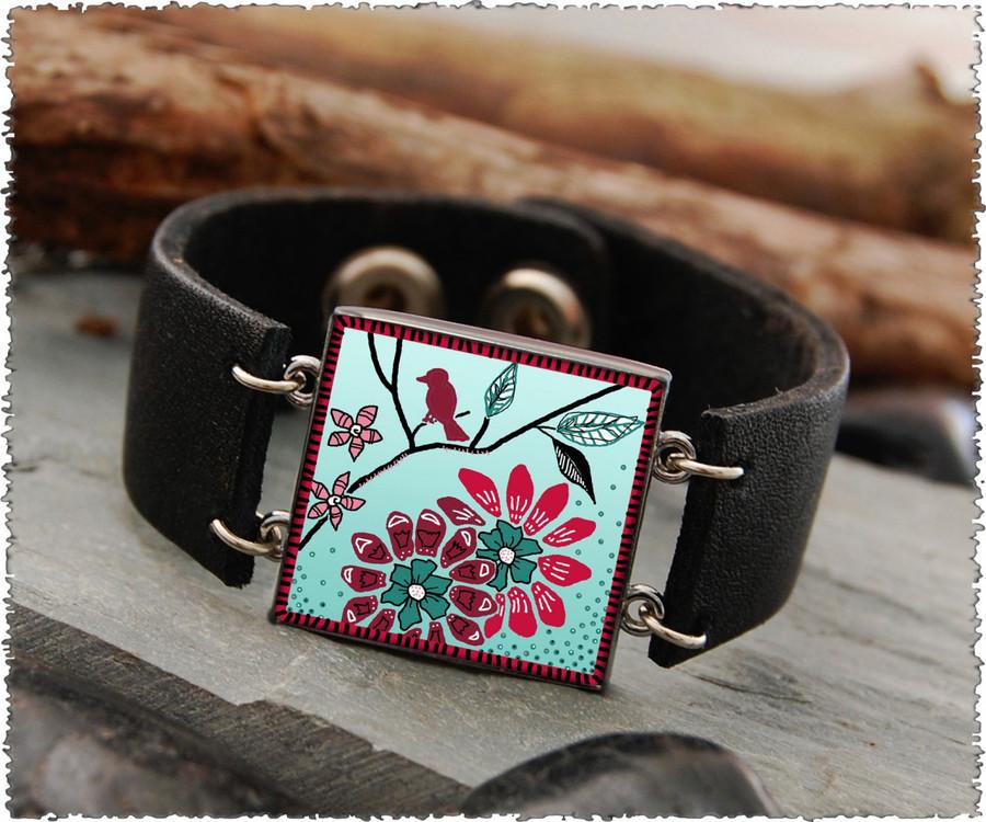 Bird Flower Double Sided Leather Cuff Bracelet