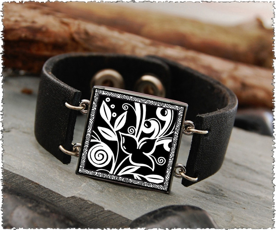 Flowers Black Double Sided Leather Cuff Bracelet