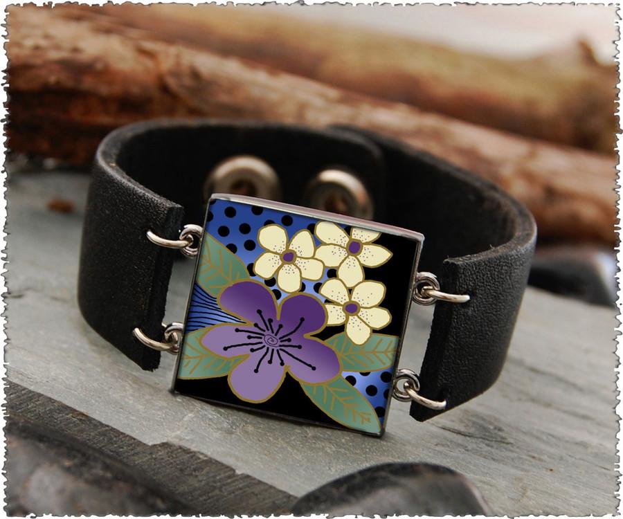 Purple Flower Double Sided Leather Cuff Bracelet