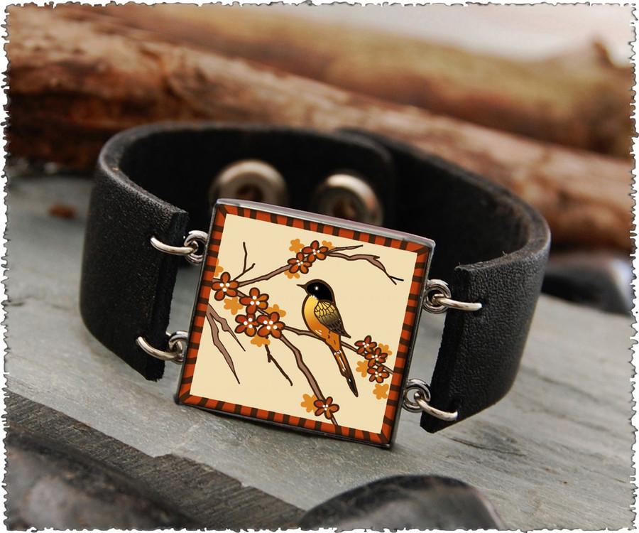 Robin Double Sided Leather Cuff Bracelet