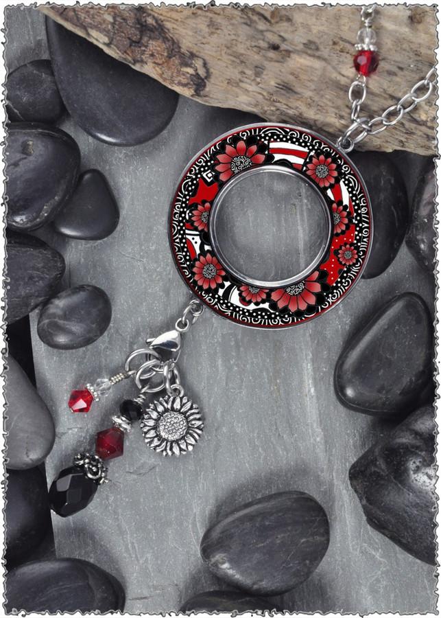 Black White Red Flower Reversible Beaded Open Circle Charm Pendant