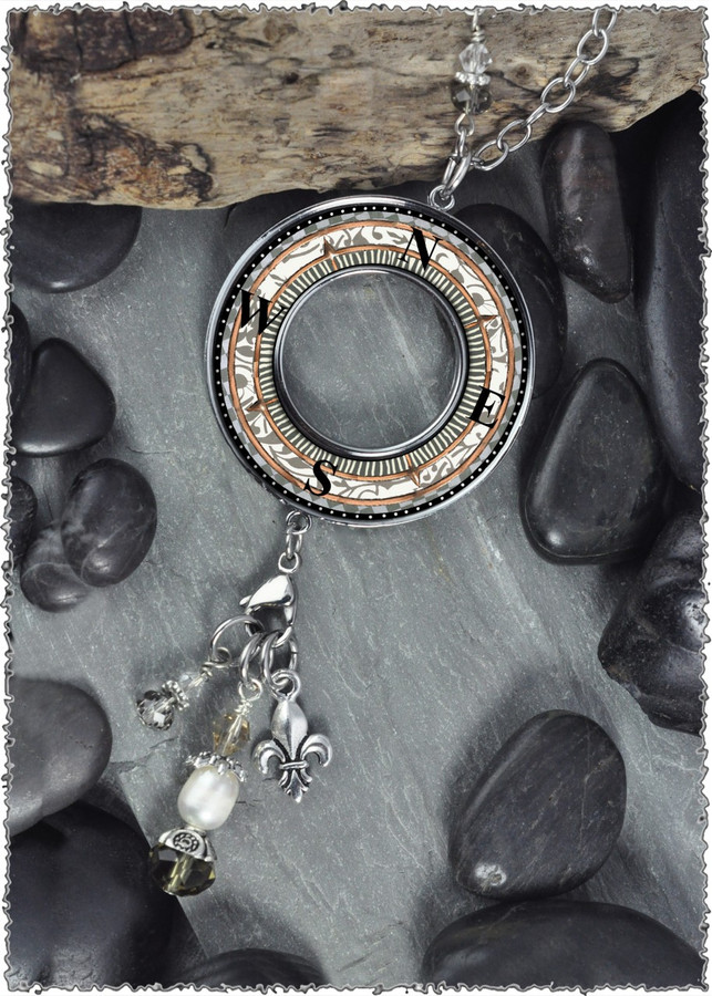 Compass Reversible Beaded Open Circle Charm Pendant