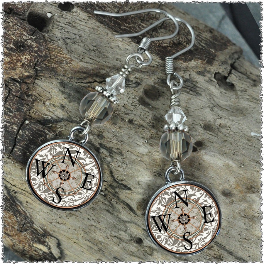 Compass Crystal Beaded Circle Earrings