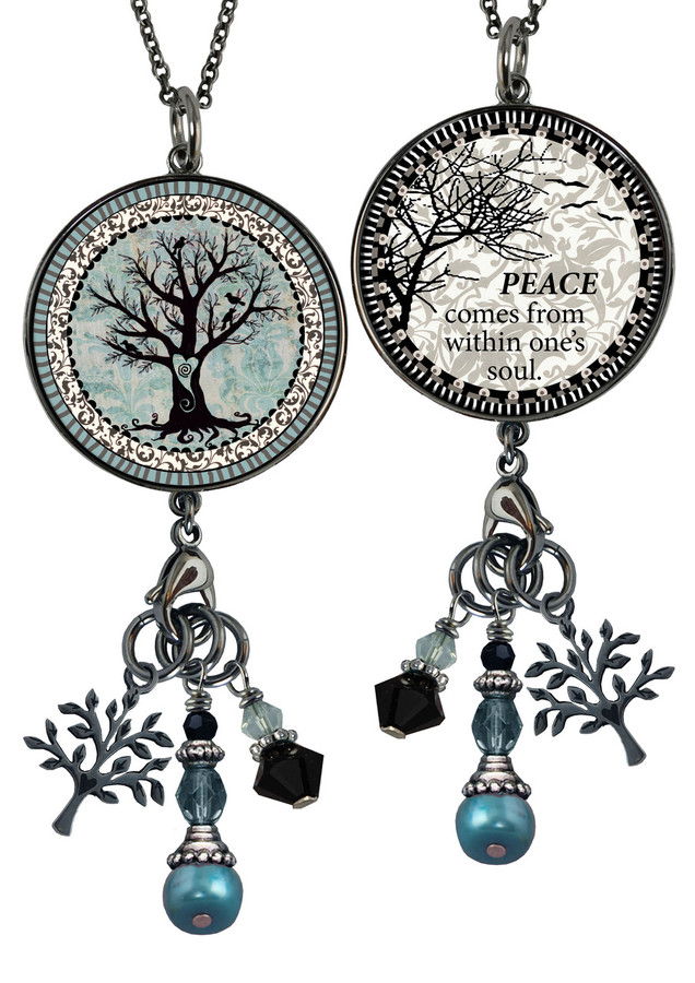 Tree of Life Reversible Large Beaded Circle Charm Pendant