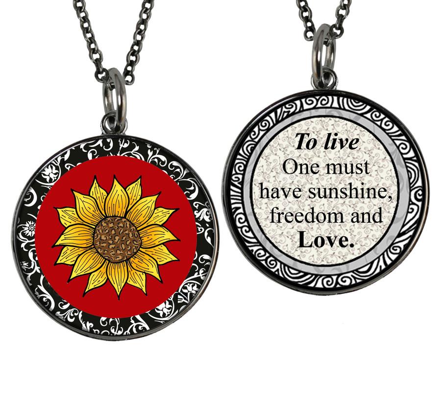 Sunflower Reversible Circular Pendant
