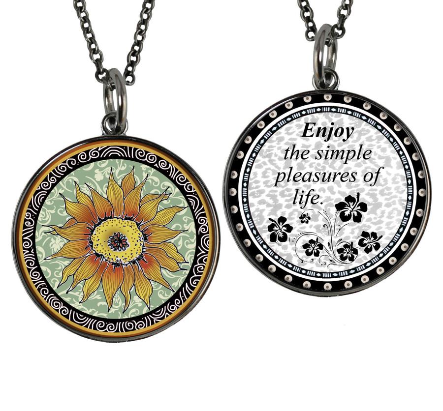 Sunflower Green Reversible Circular Pendant