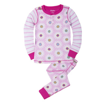 Hatley Graphic Daisy Henley Winter Pyjamas (Size 2 & 3 Years)