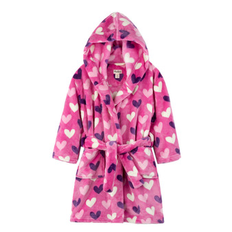 Hatley Multi Hearts Kids' Fleece Robe (Size 2-3 Years)