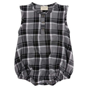 Turtledove Organic Cotton Grey Woven Check Summer Playsuit (Sample Size 3-6 Months)