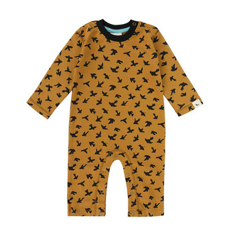 Turtledove Organic Cotton Mustard Birds Playsuit