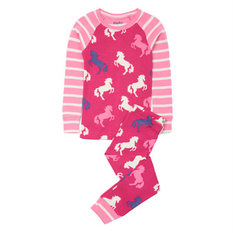 Hatley Playful Horses Organic Cotton Raglan Pyjama Set (Size 2 Years)