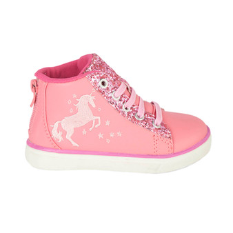 Hatley Sparkle Horse High Top Sneaker (Sizes 10-3 US Shoe Sizes)