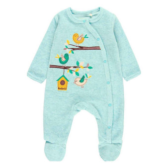 Boboli Aqua Velour Bird Applique Footed Studded Rompersuit (Sizes 3-6 Months)
