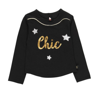 Boboli Black Stretch 'Chic' Print with Gold Thread Long Sleeve Top (Size 10 Years Only)