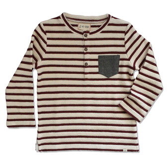 Me & Henry Burgandy & Cream Thick Henley Tee (Sample Size 3-4 Years)