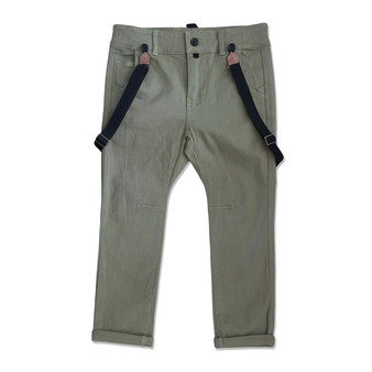 Me & Henry Olive Stretch Pants with Suspenders (Sample Size 3-4 Years)