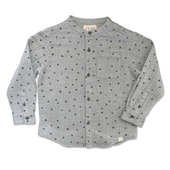 Me & Henry Woven Grey Stars Thick Lined Shirt (Sample Size 3-4 Years)
