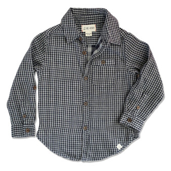Me & Henry Woven Navy Check Lined Shirt (Size 3-4 Years)
